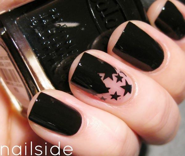 geometry stars accent black nails