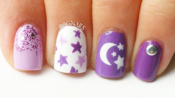 stars moon glitter purple nails