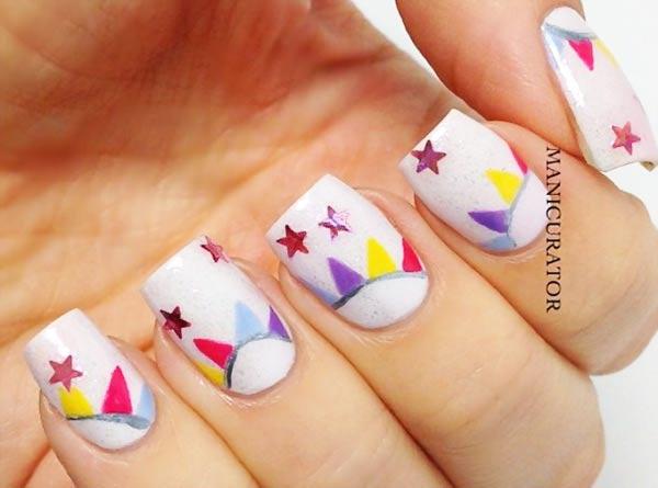 stars shimmer circus party nails