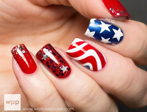 stars stripes red blue 4th of july nails