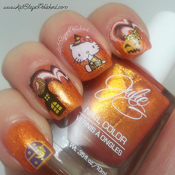 stickers stamped orange shimmer halloween nails