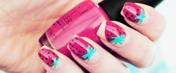 strawberry spring summer nails