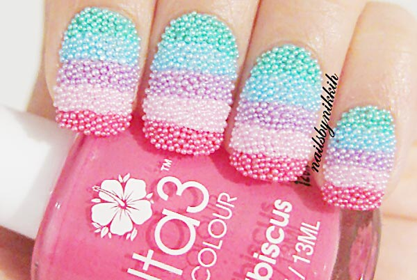 striped candy caviar nails