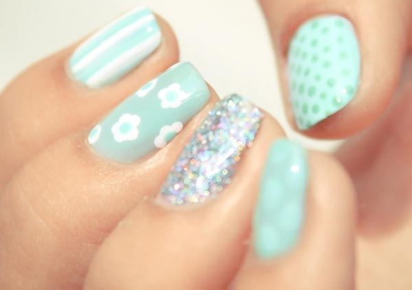striped dotted flowers glitter seafoam nails