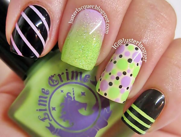 striped dotted gradient green lilac nails