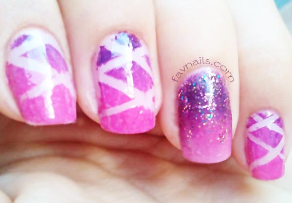 striped glitter pink purple gradient nails