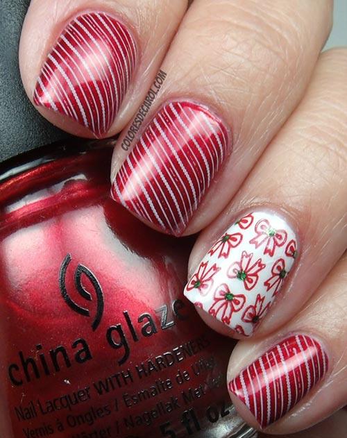 stripes bows Christmas nails