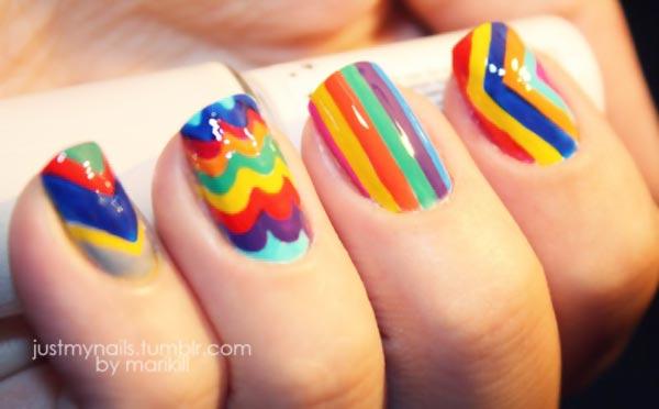 stripes chevron waves rainbow nails