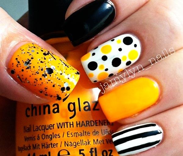 stripes dots yellow white black fall nails