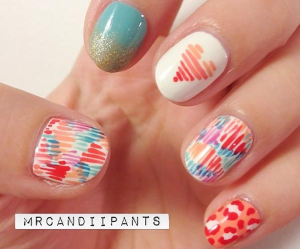 stripes leopard heart neon art nails