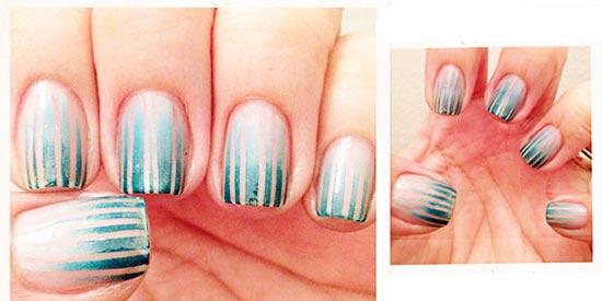 stripes on blue gradient nails