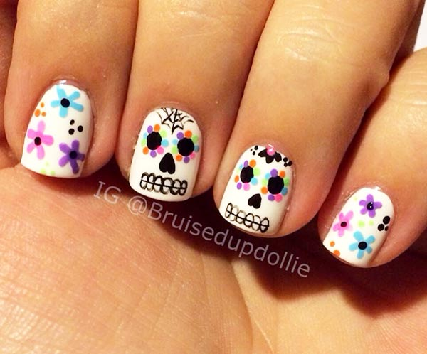 sugar skull colorful flowers nails