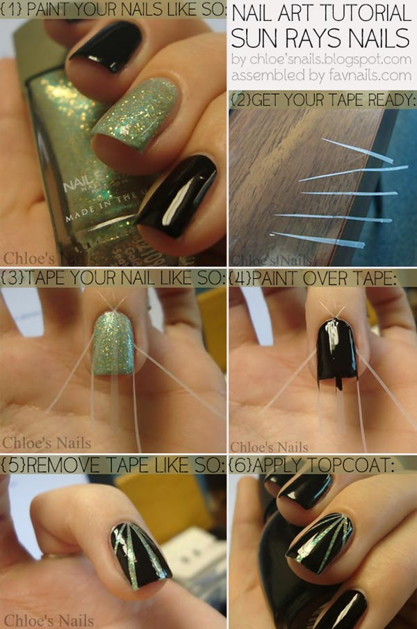 sun rays tape nail art tutorial