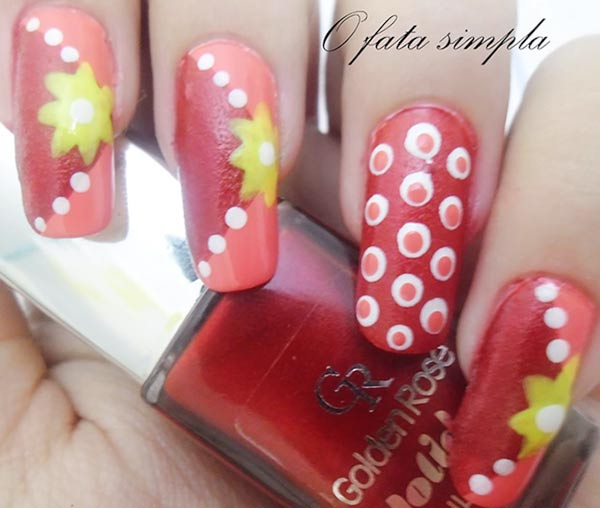 tangerine peach white yellow dotted nails