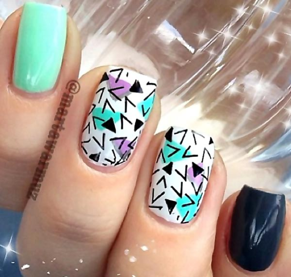 teal black geometry accents nails