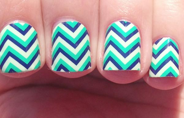 teal blue white stripes chevron nails