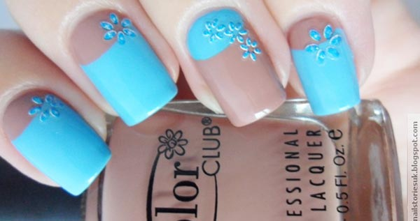 teal brown flowers accents nails