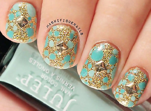 teal dotted studded gold glitter nails