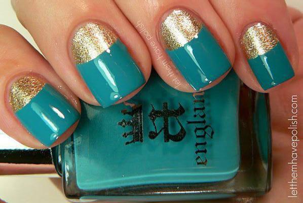 teal golden half moon nails