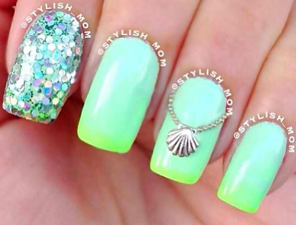 teal lime gradient glitter seashell summer nails