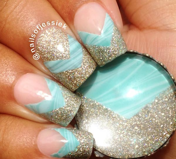 teal marbled glitter tips french nails