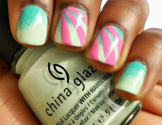 teal pink accent nails