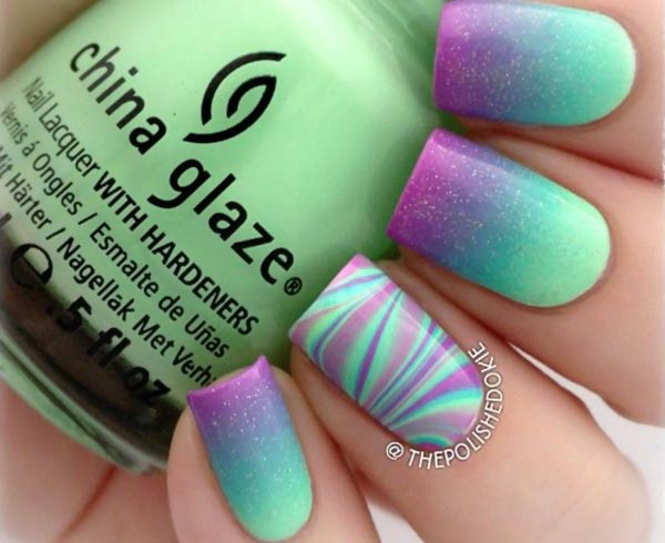 teal purple gradient marbled accent nails