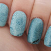 teal stamped lovely subtle nails