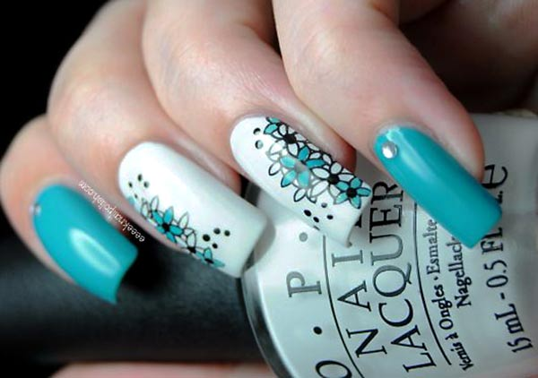 teal white flowers accent nails