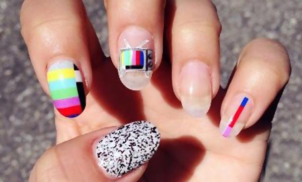 technicolor vintage tv decals nails
