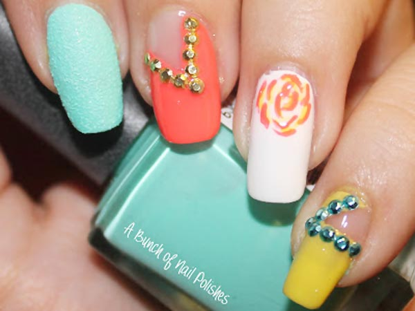 textured rose studded cutout pastel nails
