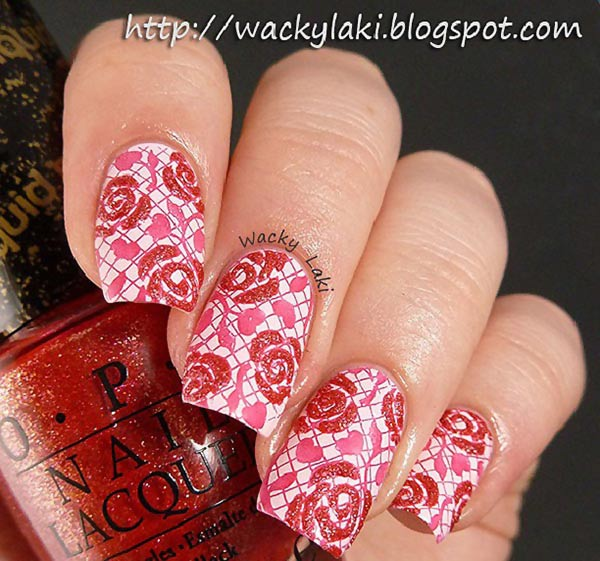 wackylaki textured roses grid stamped nails