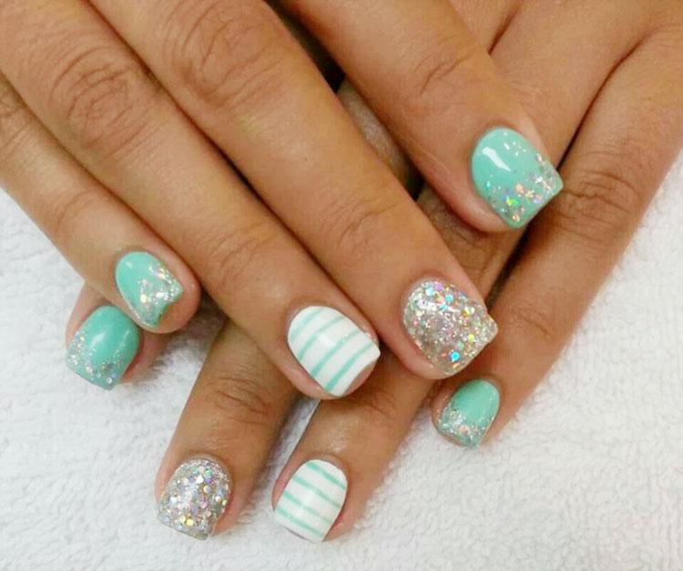 tiffany blue glitter white striped accent nails