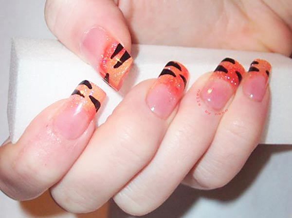 tiger orange glitter french nails
