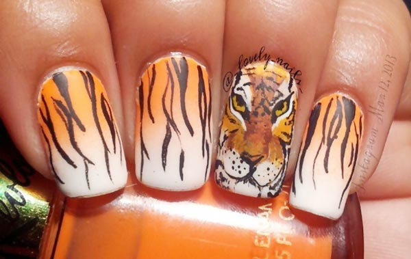 tiger gradient nails