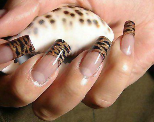 tiger tips wild french nails