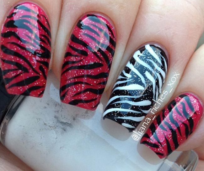 tiger zebra red white black nails