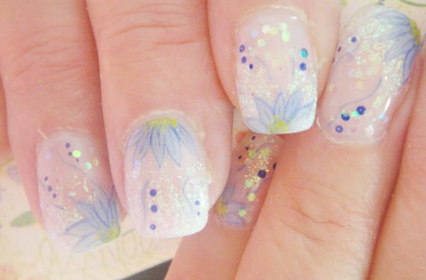 transparent blue flowers glitter spring nails