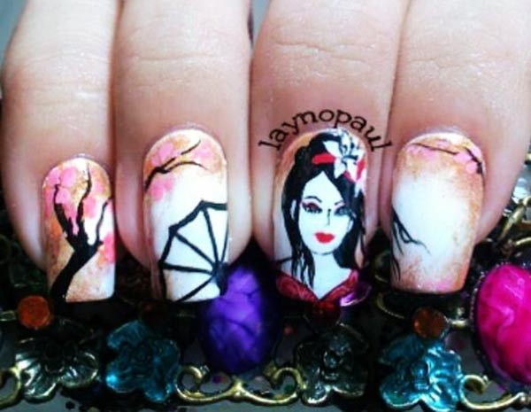 trees cherry blossom gradient geisha nails