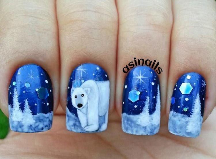 trees snow polar bear freehand winter nails