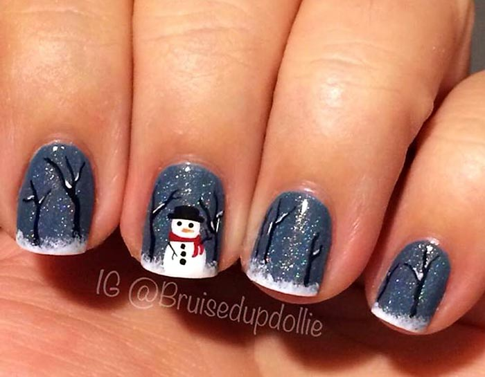 trees snow snowman winter nails