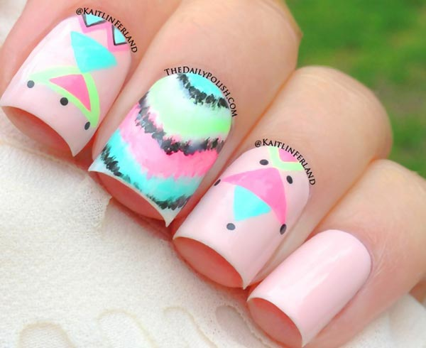 tribal tie dye on pink nails