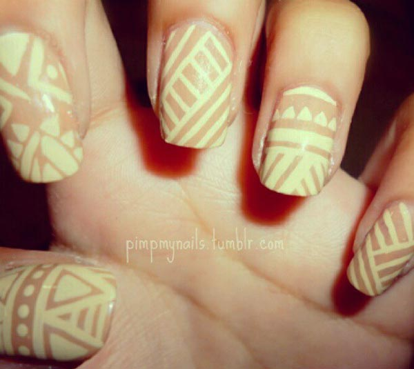 tribal yellow brown nails
