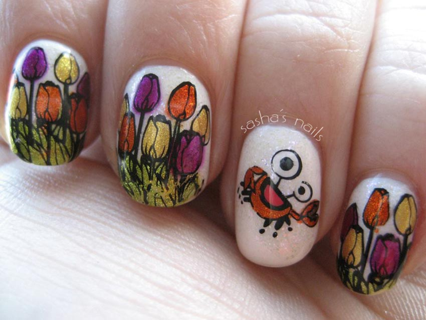 tulips crab spring stamped fun nails