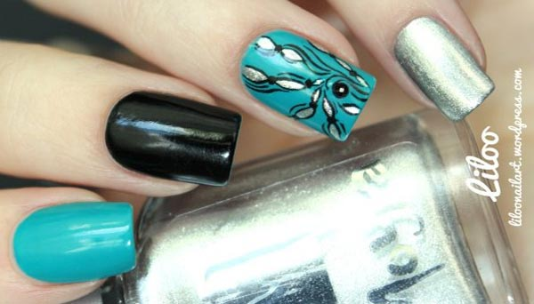 turquoise black silver freehand accent nails