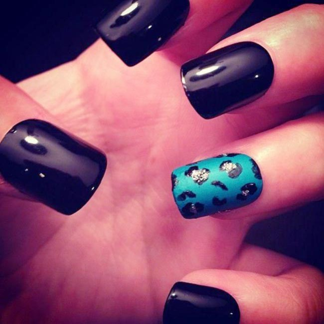 turquoise cheetah accent black nails