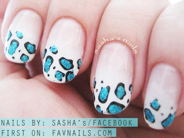 turquoise cheetah on gradient french nails
