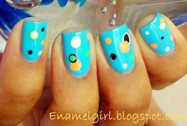 turquoise dotted easter nails