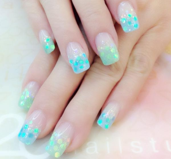 turquoise glitter french gradient nails