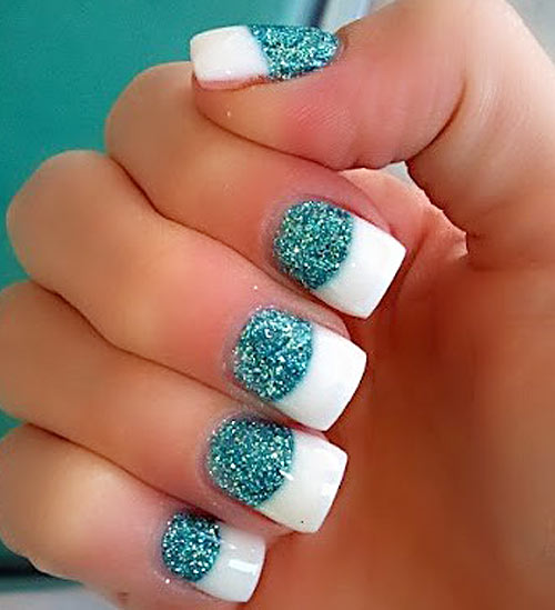 turquoise glitter french party nails - Favnails